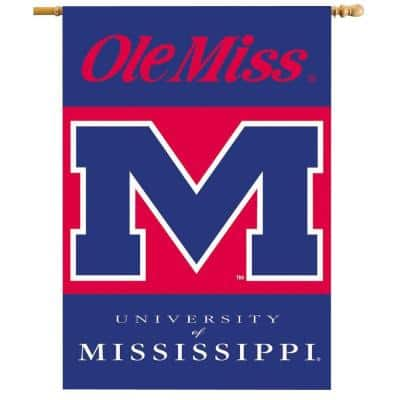 NCAA 28 in. x 40 in. Ole Miss 2-Sided Banner with Pole Sleeve