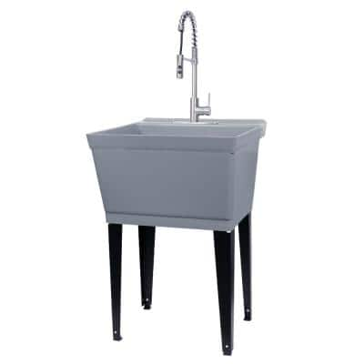 22.875 in. x 23.5 in. Grey 19 Gallon Thermoplastic Utility Sink Set with High-Arc Stainless Steel Coil Pull-Down Faucet