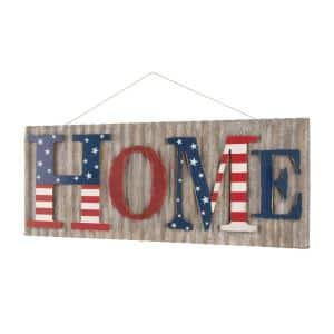 36.10 in. L Metal/Wooden Patriotic HOME Wall Decor