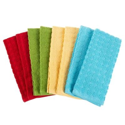 Multi-Color Circle Pattern Weave Cotton Kitchen Towel Set (8-Pieces)