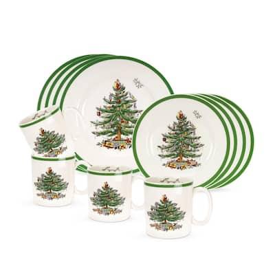 Christmas Tree 12-Piece Ceramic Dinnerware Set