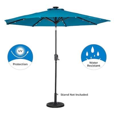 9 ft. 8-Rib Round Solar Lighted Market Patio Umbrella in Teal