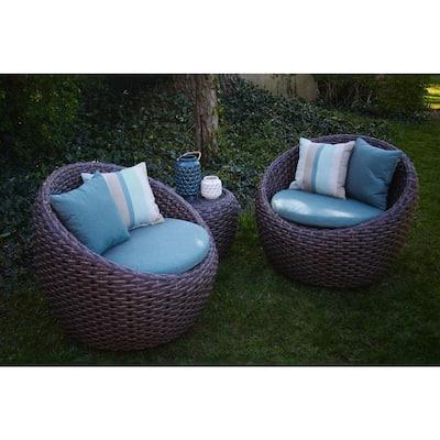 Corona 3-Piece All-Weather Wicker Patio Deep Seating Set with Sunbrella Blue Cushions