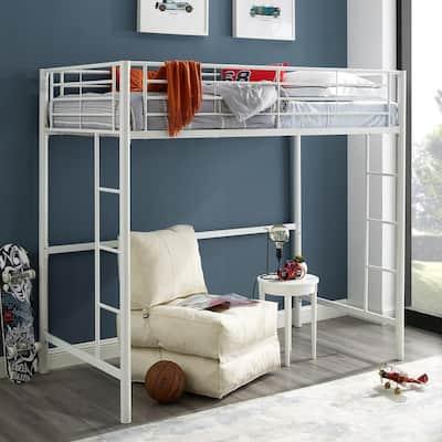Premium ContemporaryTransitional Metal Twin Loft Bed - White