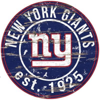 """24"""" NFL New York Giants Round Distressed Sign"""