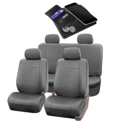 Fh Group Pu Leather 47 In X 23 In X 1 In Full Set Seat Covers Dmpu001sdgry114 The Home Depot