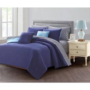 9-Piece Blue Queen Comforter Set
