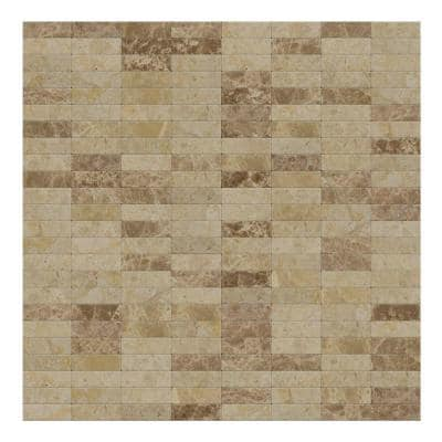 Lynx Mixed Brown 11.42 in. x 11.57 in. x 5mm Stone Self-Adhesive Wall Mosaic Tile