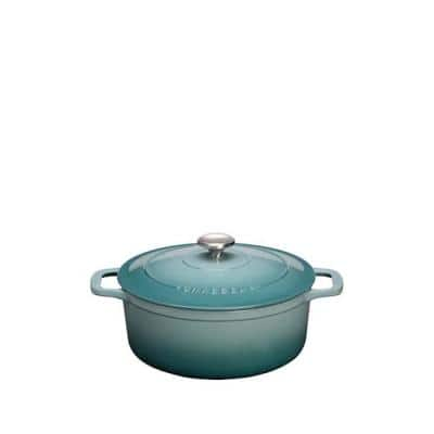 Chasseur 4.2 qt. Blue French Enameled Cast Iron Round Dutch Oven