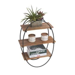 Rustic 20 in. x 7.5 in. x 20 in. Brown Wood Decorative Floating Wall Shelves