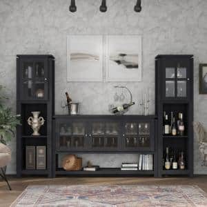 Tymon 59 in. 3-Piece Black Entertainment Center with 10-Shelves Fits TVs Up to 66 in. with Cabinets