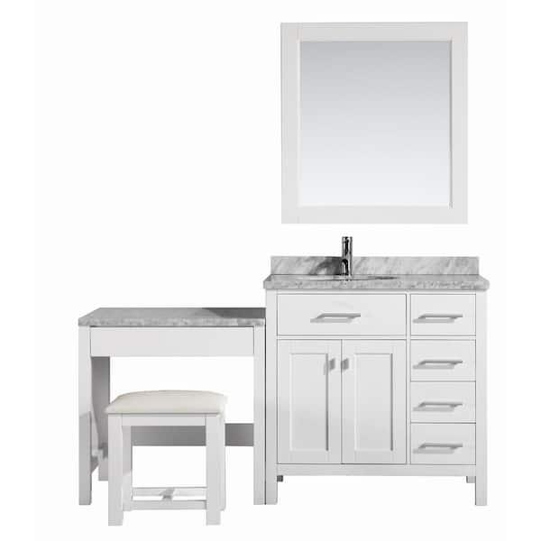 Design Element London 36 In W X 22, Bathroom Makeup Vanity And Sink