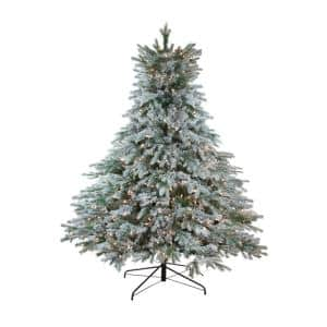 Northlight 6 5 Ft X 61 In Pre Lit Flocked Jasper Balsam Fir Artificial Christmas Tree With Clear Lights 32915571 The Home Depot