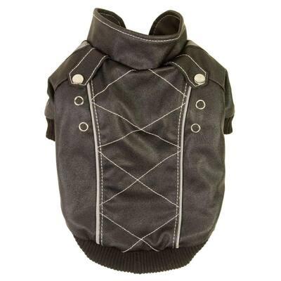 Small Dark Choco Brown Wuff-Rider Fashion Suede Stitched Dog Coat
