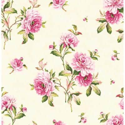 Adele Peony Paper Strippable Roll (Covers 56 sq. ft.)