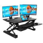 AIRLIFT Black 35.4 in. Height Adjustable Standing Desk Converter Workstation with Dual Monitor Riser and Keyboard Tray