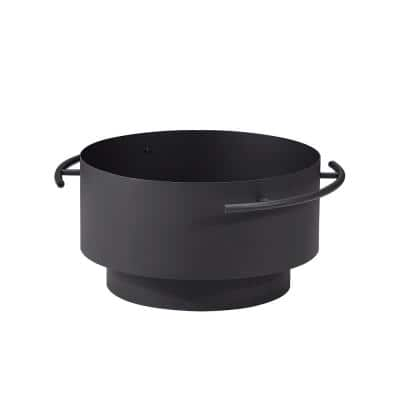 Brooks 24 in. x 13.4 in. Round Charcoal Powder Coated Steel Wood Burning Fire Pit