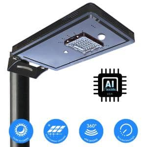 Solar Power Dusk to Dawn Black Aluminum Outdoor Integrated LED AI-Smart Sensing 1600 Lumens Cree Area Path Parking Light