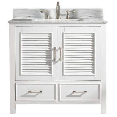 Estate 36 in. W x 22 in. D Bath Vanity in White with Carrara Marble Vanity Top in White with White Basin