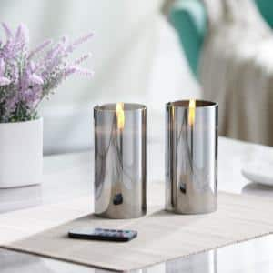 6 in. Gray Mirrored Glass LED Flameless Pillar Candles (Set of 2)
