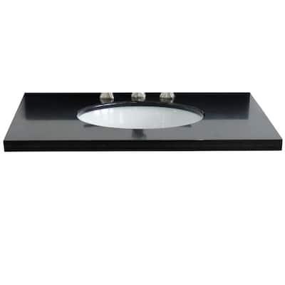 Ragusa 37 in. W x 22 in. D Granite Single Basin Vanity Top in Black with White Oval Basin