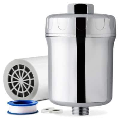 15-Stage Never Clog High Output Universal Shower Filter with Replaceable Cartridge, Chrome