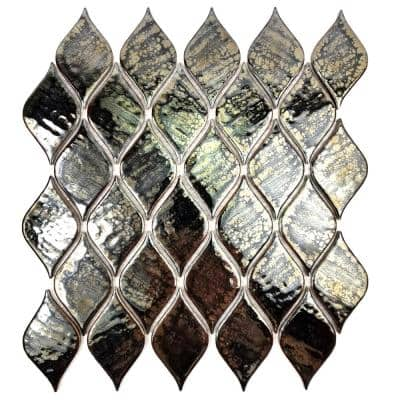 Monet Camille Black Teardrop Mosaic 2 in. x 4 in. Glossy Porcelain Wall & Pool Tile (0.79 Sq. ft.)