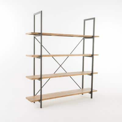 Irene 79 in. Antique Brown Wood 4-Shelf Accent Bookcase