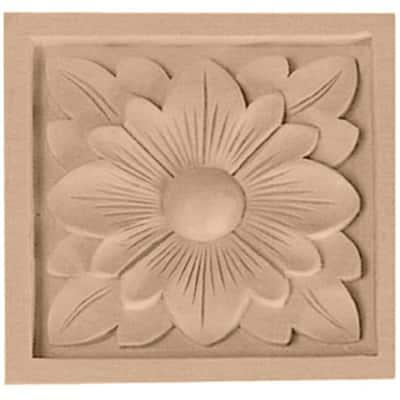 3/4 in. x 3-1/2 in. x 3-1/2 in. Unfinished Wood Alder Medium Dogwood Flower Rosette