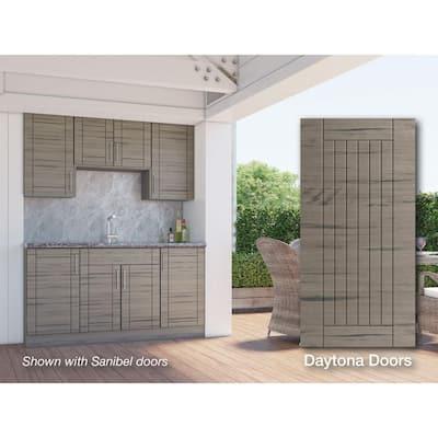 Daytona Weatherwood 22-Piece 67.25 in. x 84 in. x 25 in. Outdoor Kitchen Cabinet Set