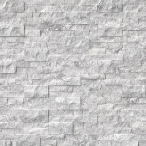 Arabescato Carrara Splitface Ledger Panel 6 in. x 24 in. Marble Wall Tile (10 Cases/60 sq. ft./Pallet)