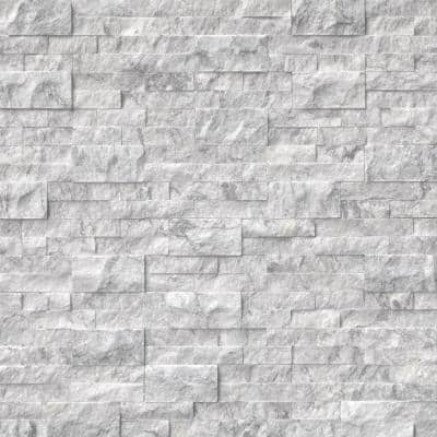 Arabescato Carrara Split face Ledger Panel 6 in. x 24 in. Marble Wall Tile (6 sq. ft./Case)