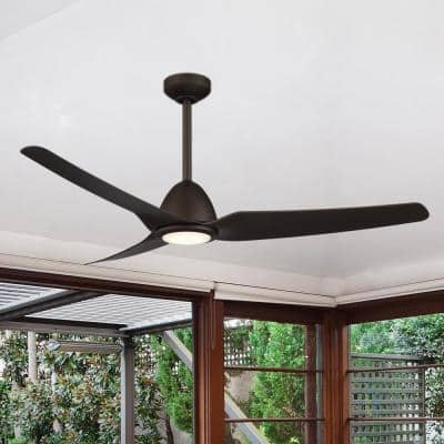 Kava 54 in. Integrated LED Indoor/Outdoor Oil Rubbed Bronze Ceiling Fan with Light