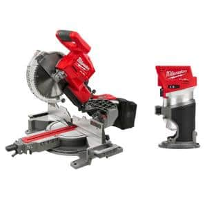 M18 FUEL 18-Volt Lithium-Ion Brushless 10 in. Cordless Dual Bevel Sliding Compound Miter Saw with Compact Router