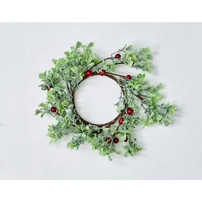 """3.25"""" GREEN LEAVES AND RED BERRIES CANDLE RING (Set of 4)"""