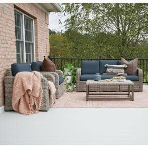 Forsyth 6-Piece Wicker Seating Set with Sunbrella Navy Cushions