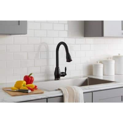 Newbury Single-Handle Pull-Down Sprayer Kitchen Faucet in Oil-Rubbed Bronze