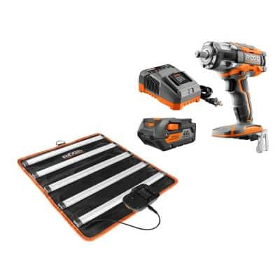 18-Volt OCTANE Lithium-Ion Cordless Brushless 4-Mode Compact Impact Wrench Kit with Battery, Charger, and LED Mat Light