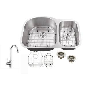 All-In-One Undermount 18-Gauge Stainless Steel 31-1/2 in. 0-Hole 70/30 Double Bowl Kitchen Sink with Gooseneck Faucet