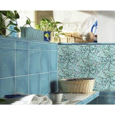 Galaxy Mercury Blue Wavy Square Mosaic 0.3125 in. x 0.3125 in. Iridescent Glass Wall Tile (1 Sq. ft.)