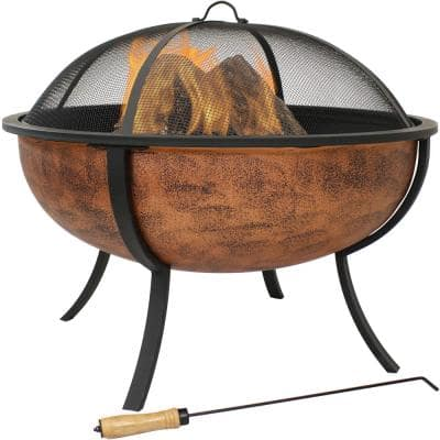 25.75 in. Copper Raised Outdoor Fire Pit Bowl with Spark Screen