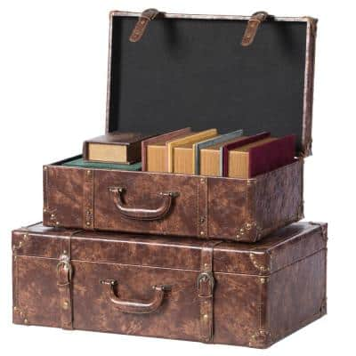 Suitcase Storage Trunk with Faux Leather (Set of 2)