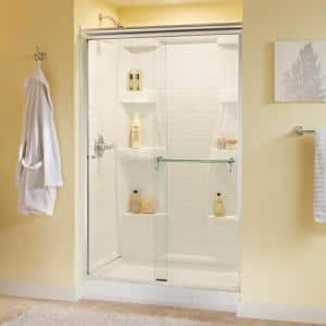 Portman 48 in. x 70 in. Semi-Frameless Traditional Sliding Shower Door in Chrome with Clear Glass