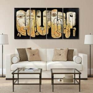 ''Totem poles'' Mixed Media Iron Hand Painted Dimensional Wall Decor