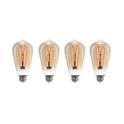 40-Watt Equivalent ST19 Dimmable LED Amber Glass Vintage Edison Light Bulb With M-Type Filament Warm White (4-Pack)