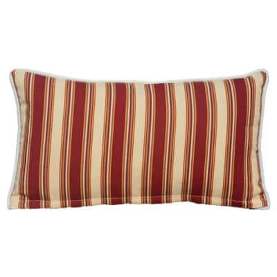Luxury Canvas Red Striped Rectangular Outdoor Throw Pillow