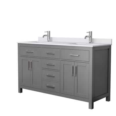 Beckett 60 in. W x 22 in. D Double Bath Vanity in Dark Gray with Cultured Marble Vanity Top in White with White Basins