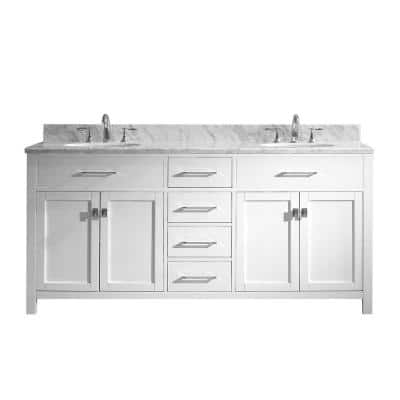 Caroline 72 in. W Bath Vanity in White with Marble Vanity Top in White with Round Basin