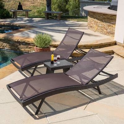 Kauai Multi-Brown 3-Piece Metal Outdoor Chaise Lounge