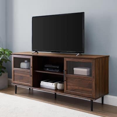 58 in. Dark Walnut Composite TV Stand Fits TVs Up to 64 in. with Storage Doors